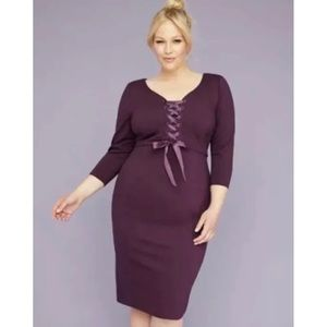Lane Bryant Corset Style Lace Up Purple Dress